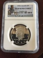 1995 S SILVER PROOF KENNEDY HALF DOLLAR NGC PF69 UC