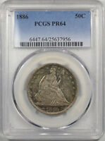 1886 PROOF LIBERTY SEATED HALF DOLLAR PCGS PR 64 WHOLESOME & LOVELY