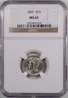 1869 THREE CENT NICKEL NGC MS 65