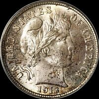 1913 BARBER DIME 10C PCGS MS66 TOP POPULATION HIGH RES IMAGES
