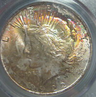 1922 RAINBOW TONED PEACE SILVER DOLLAR PCGS MS 64 COLORFUL OBVERSE TONING NICE