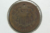 1864 TWO CENT G BORED ATTEMPTED HOLE