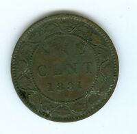 CANADA 1881 H LARGE CENT  CIRCULATED