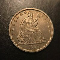 1866 P MOTTO LIBERTY SEATED HALF DOLLAR CHOICE AU ABOUT UNCIRCULATED
