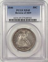 1840 SEATED LIBERTY HALF DOLLAR 50C. PCGS AU50 REVERSE OF '39 6234.45/27648502
