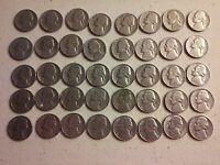 40 DIFFERENT JEFFERSON NICKELS  1940 1981  40 COIN ROLL CIRCULATED JNR2001