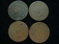 4 COIN LOT INDIAN HEAD CENT ONE CENT COINS 1879 1875 1865 1864