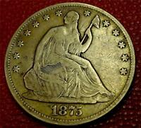 COLLECTIBLE U S. COIN1875 SEATED LIBERTY HALF DOLLAR VF CB15