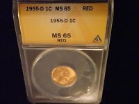 1955 D  1 CENT         ANACS MS 65 RED