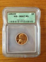 WHEAT CENT 1953 D ICG GRADED MINT STATE 67 RD