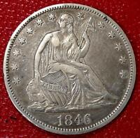 U.S SILVER COIN1846 TALL DATE SEATED LIBERTY HALF DOLLAR XF DETAILS CF70