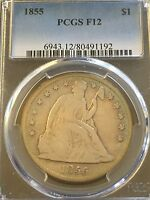 1855 $1 LIBERTY SEATED DOLLAR PCGS F12    AND KEY DATE DOLLAR   BLUE TONING