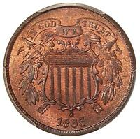 1865 2C PCGS MINT STATE 64 RB FS-301 REPUNCHED DATE  LOW POP 2 CENT COPPER VARIETY