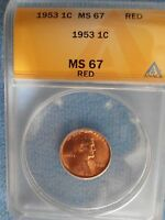1953 BU LINCOLN CENT MS67 RED  THIS GRADE 1 OF ONLY 2..READ BELOW