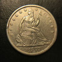 1877 CC MOTTO LIBERTY SEATED HALF DOLLAR CH.AU ABOUT UNCIRCULATED CARSON CITY