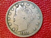 VINTAGE U.S. COIN1911 LIBERTY V NICKEL FINE/F BS32