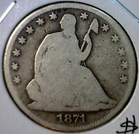 1871S SEATED HALF DOLLAR US SILVER COIN .50 ESTATE FIND LOT 1