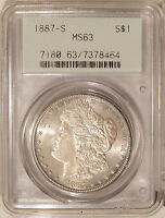 1887-S 1C PCGS MINT STATE 63  PQ MORGAN DOLLAR IN OLD 2ND GENERATION HOLDER