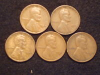 LINCOLN WHEAT CENTS  1930S, 1931, 1933, 1933D, 1935D,   LOT OF 5 SEMI KEY DATES