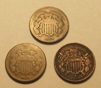 LOT OF 3 2 CENT PIECES 1864-1867  LOT OF DIFFERENT DATES  OLD US COINS