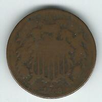 1868 TWO CENT PIECE G/VG