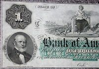 1800 'S CH CU $1 BANK OF AMERICA RHODE ISLAND OBSOLETE ONE DOLLAR NOTE CURRENCY