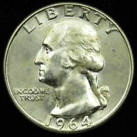1964 D UNCIRCULATED 90 SILVER WASHINGTON QUARTER BU B05