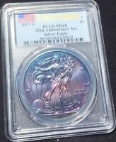 2011 S SILVER EAGLE 25TH ANNIVERSARY SET PCGS MS 68 FIRST STRIKE MONSTER TONING