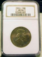 1951 FRANKLIN SILVER HALF DOLLAR IN NGC MS66   GREAT COLOR   ID PP774