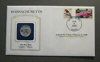 2000 COLORIZED MASSACHUSETTS STATE QUARTER & STATE STAMP COVER GREAT GIFT