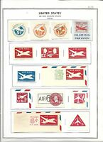 US, AIRMAIL CUT SQUARE STAMP COLLECTION  HINGED ON  PAGES