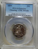 1859 SEATED LIBERTY QUARTER NEAR OR AT GEM PCGS UNC DETAIL 25C LUSTER US COIN