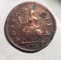 ULTRA  GEORGE II FARTHING 1739 OVER STAMPED WAS 1730 COPPER 23MM DIAMETER
