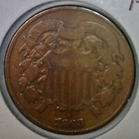 1868 TWO CENT 2C COPPER US COIN ORIGINAL LOT 1 OF 100 AUCTIONS    NO RESERVE