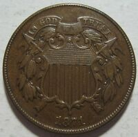 1871 VF/EXTRA FINE  TWO CENT PIECE,  COLOR & DETAILS, SHIPS FREE