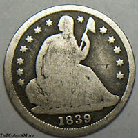 1839 SEATED LIBERTY HALF DIME   90 SILVER