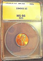 1949 D 1C RD LINCOLN CENT ANACS MS 66 RED SUPERIOR GEM SHARP STRIKE LUSTROUS