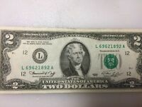 MINT UNCIRCULATED TWO DOLLAR BILL CRISP $2 NOTE SEQUENTIAL ORDER UP TO 10