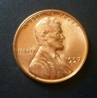 1957 D LINCOLN WHEAT CENT / PENNY UNCIRCULATED   BLAZING RED