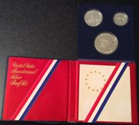 UNITED STATES BICENTENNIAL SILVER PROOF SET 1776 1976 3 COINS1 1/2 1/4 DOLLAR