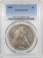 1844 LIBERTY SEATED DOLLAR PCGS XF 45. THE REEDED EDGE