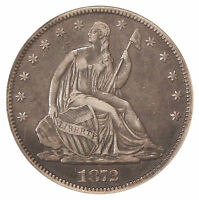 1872 50C ANACS VF 30 WB 102   MISPLACED DATE VARIETY SEATED LIBERTY HALF DOLLAR
