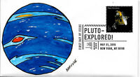 FDC PLUTO EXPLORED NEW HORIZONS STAMP 2016 HAND PAINTED BY BARNNIE