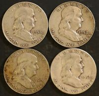 CIRCULATED FRANKLIN HALF DOLLAR COIN LOT 4   1952,1954D,1957D,1958D   FH2