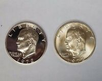 1972 S $1 SILVER EISENHOWER IKE DOLLAR 2 COIN PROOF & GEM BU SET