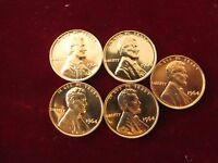 1964 LINCOLN CENT  5 COIN LOT BRILLIANT PROOF SURFACES  FLAWLESS