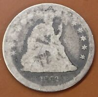 1862 P SEATED LIBERTY SILVER QUARTER : OVER 6000 ITEMS : COMBINED SHIPPING