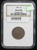 1865 TWO CENT NGC MINT STATE 65 BROWN