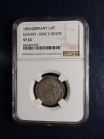 1854 GERMANY ONE SIXTH THALER NGC VF35 SAXONY KING'S DEATH 1/6 T COIN BUY IT