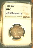 1932 25C WASHINGTON QUARTER NGC MS 63 CHOICE UNCIRCULATED ATTRACTIVE GOLD TONE